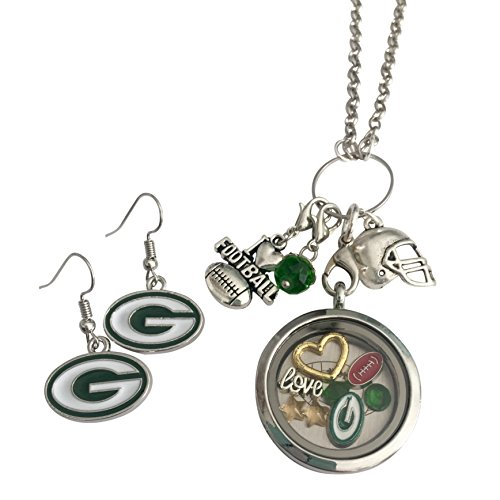 Green Bay Packers Women's Jewelry Set Necklace and Matching Earrings Cluster Necklace High Quality Made To Last ()