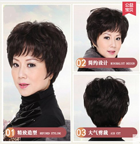 Real hair wig middle-aged with short hair fluffy short curly hair, middle-aged lady mother lifelike silk wig