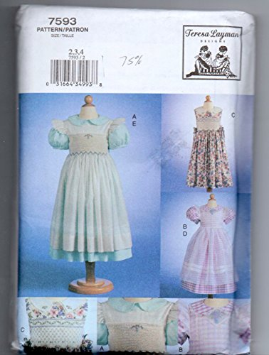 - Vogue 7593 Girls Dress and Pinafore with Smocking Sewing Pattern Size 2-3-4