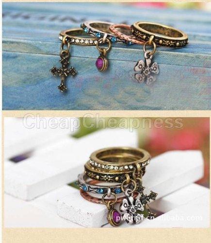 Hot Sale£¡Unique Vintage Antiqued Rhinestone Clover Cross Ring Set Retro Rings 4PCS