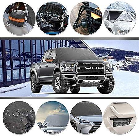 125cm TOPWINNER Protector Parabrisas Coche Antihielo Nieve con Cubierta Epejo Retrovisor Tira Reflectante Negro L 215