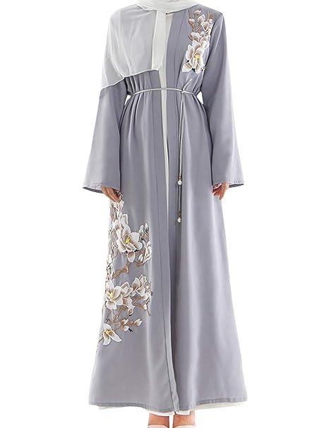 VHFIStj Arabia Saudita Abaya Cardigan Abrigo Bordado de Manga Larga Cóctel de Cuerpo Entero Kaftan Oriente Medio Vestido Maxi Ramadán Islámico Jalabiya para ...