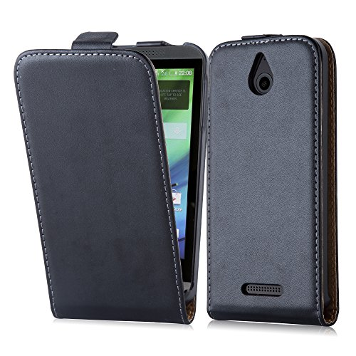 Cadorabo Case Works with HTC Desire 510 in Caviar Black (Design FLIP Smooth) - with 2 Card Slots - Case Etui Cover Pouch PU Leather Flip