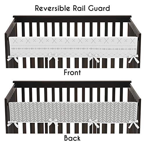 Friends Crib Cover - Sweet Jojo Designs Grey and White Boho Tribal Herringbone Arrow Unisex Boy or Girl Baby Long Front Crib Rail Guard Teething Cover Protector Wrap for Gray Woodland Forest Friends Collection