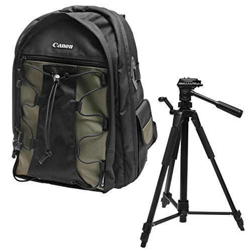 Canon Deluxe Backpack - Canon 200EG Deluxe Digital SLR Camera Backpack Case + Photo/Video Tripod for EOS 6D, 7D, 77D, 80D, 5D Mark II III IV, Rebel T6, T6i, T6s, T7i, SL2