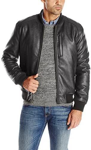 Cole Haan Men's Zip Front Faux Leather Varsity Jacket