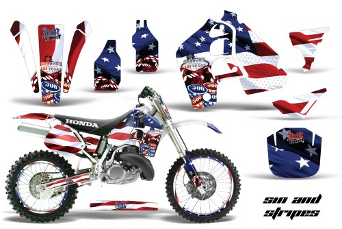 AMR Racing MX Dirt Bike Graphic Kit Sticker Decals with Number Plates Compatible with Honda CR500 1989-2001 - Sin City FLAG
