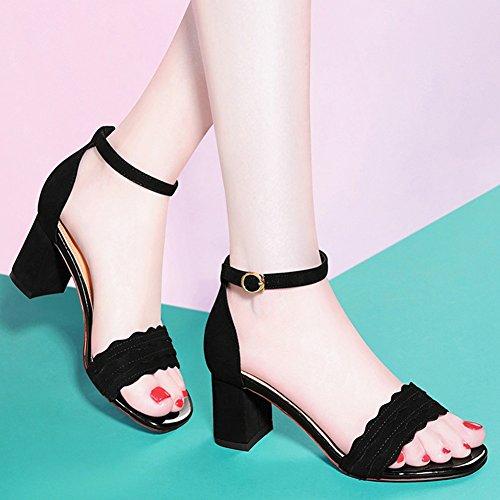 Punta Clip Tacones Abierta Encaje Talón Toe Chanclas Tamaño toe Tacón Peep Sandalias Mujer Talla Agujeros Nude Negro Zapatos 39 Para color Cuadrada De Altos Grueso qfaX7Z