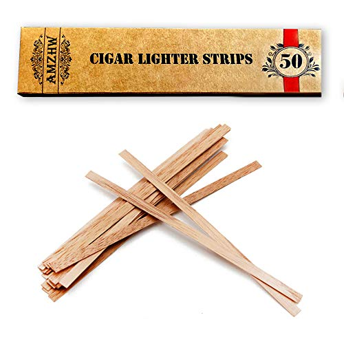 AMZHW Cigars Smoking Lighter, per Pack 50 Cedar Spills Match Lighting Strips - 25cm(9.8in)Spanish Cedar Wood Matches - Cigar and Pipe Accessories for Men