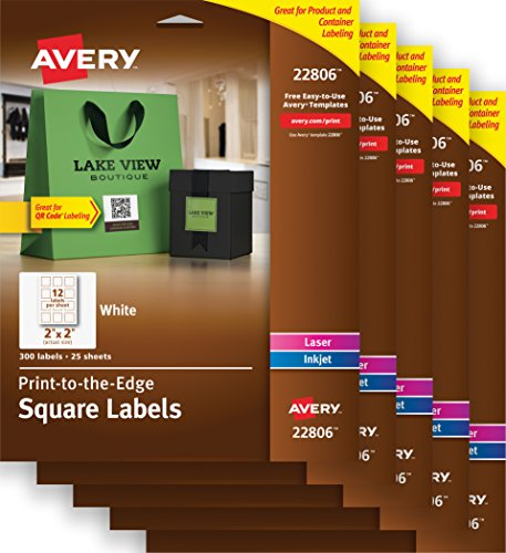 "Avery Easy Peel Print-to-the-Edge White Square Labels, 2"" x 2"", Case Pack of 5 (22806)"