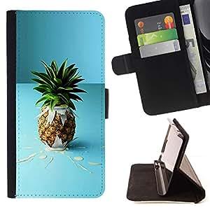 Momo Phone Case / Flip Funda de Cuero Case Cover - Pi?a de la fruta macro Cóctel - Samsung Galaxy J1 J100