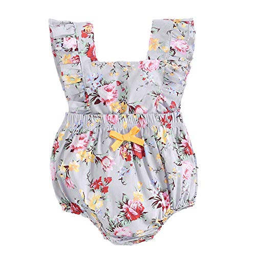 - BubbleColor Baby Girl Romper Ruffle Sleeve Jumpsuit Playsuit Floral Rompers One Piece Cotton Bodysuit for Newborn Infant Toddler Outfit Princess Clothes (0-6 Months, Pattern-A)