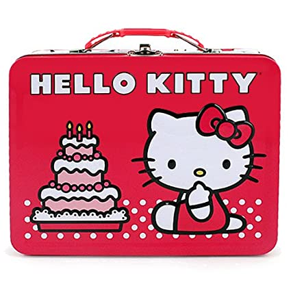 Amazon Com Hello Kitty Birthday Cake Embossed Metal Lunch Box
