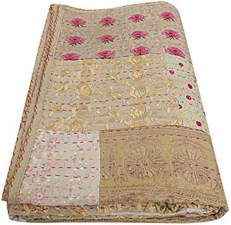 Hand Embroidered Kantha Bedspread Vintage Indian Quilt