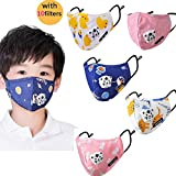 Kid's Dust Mouth Mask Cartoon PM2.5 Anti Dust Pollution Mask Cotton Mouth Mask Children's Guaze Mask Dustproof Face Mask with N95 Respiration Valve Filter 5pcs