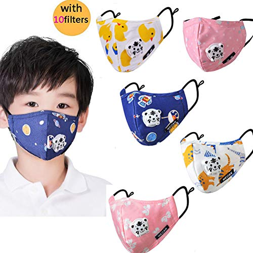 Kid's Dust Mouth Mask Cartoon PM2.5 Anti Dust Pollution Mask Cotton Mouth Mask Children's Guaze Mask Dustproof Face Mask with N95 Respiration Valve Filter 5pcs]()