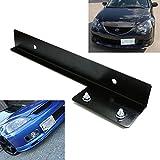 iJDMTOY® JDM Black Universal Fit Front Bumper License Plate Relocator Bracket Holder Bar
