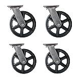 (Set of 4) 8'' CC Vintage Swivel Casters - Plate Mount - Black Cast Iron Wheel
