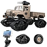 Remoking RC Hobby Toys Military Truck 1/12 Off-Road Sport Cars 4WD 2.4Ghz Rock Crawler Vehicle with Wi-Fi HD Camera Gifts for Kids and Adults(Included 2 kinds of wheels)