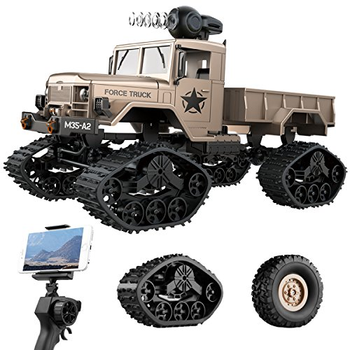 REMOKING RC Hobby Toys Military Truck Off-Road Sport Cars 4WD 2.4Ghz Rock Crawler Vehicle with Wi-Fi HD Camera Gifts for Kids and Adults (Best 1 18 Rc Truck 2019)