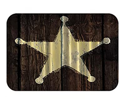 Beshowere Doormat Western Country Decor Southwestern Primitive Wooden Lone Star SheriffBadge Five Point Antiqued Look Army Military Armed ForcePrint Home Accent Brown Ivory.jpg