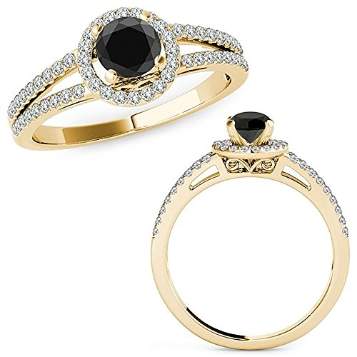 1.07 Carat Black Diamond Love Design Beautiful Halo Anniversary Promise Women Band Ring 14K Yellow Gold ()