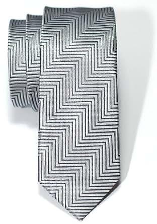 Retreez Herringbone Stripe Woven Skinny Tie - Grey