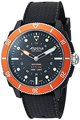 Alpina Men's 'Horological' Quartz Stainless Steel and Rubber Smart Watch, Color:Black (Model: AL-282LBO4V6) by Alpina Watches MFG Code