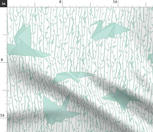 Spoonflower Birds Fabric - Flew Backwards Origami Japanese Mint White Nursery Decor Palette Limited Bird Print on Fabric by The Yard - Velvet for Upholstery Home Decor Bottomweight Apparel