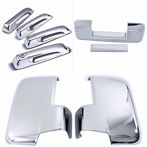 Cobra-Tek 2009-2012 Dodge Ram Chrome Door Handle Cover 4D (No Passenger Keyhole) & Tailgate Handle Cover (No Keyhole) & Mirror Cover With Turn Signal (Not Fit Towing Mirror) Combo ()