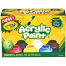 Crayola; Acrylic Paint; Art Tools; 6 2-Ounce Bottles; Assorted Bright, Bold Colors