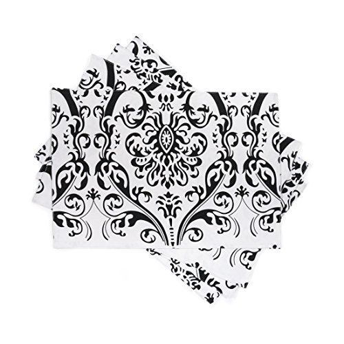 LinenTablecloth Cotton Black on White Damask Placemats, - Black And White Kitchen Linens
