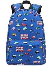 Kids Backpack for Boys Toddler Backpack Preschool Bookbag Nursery Daycare Elementary (Dark blue - car)