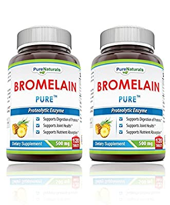 Pure Naturals Bromelain Dietary Supplement - 500mg, 120 Enzyme Tablets Per Bottle – Supports Healthy Digestion, Anti- Inflammatory Support & More