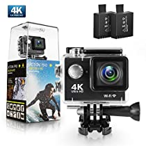 Action Camera, Bekhic 4K WiFi Ultra HD Waterproof Sport Camera with 12MP 170 Degree Wide-Angle Lens and 2 PCS Rechargeable Battery, Including Waterproof Case and Full Accessories Kits
