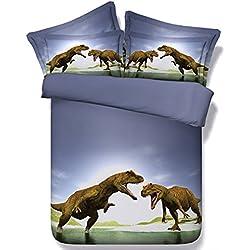 Alicemall 3D Dinosaur Bedding Powerful Dinosaur Battle Blue 5-Piece Comforter Sets Unique 3D Dinosaur Quilt Bedding for Kids and Adults, Queen Size (Queen, Blue)