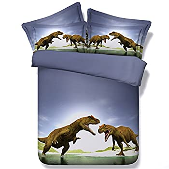 Image of Alicemall 3D Dinosaur Bedding Powerful Dinosaur Battle Blue 5-Piece Comforter Sets Unique 3D Dinosaur Quilt Bedding for Kids and Adults, Queen Size (Queen, Blue) Home and Kitchen