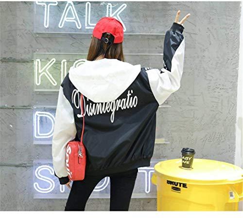Con Grande Moda Impresión Manga Battercake Chaqueta Otoño Mujeres Capucha Anchas Outerwear Abrigos Carta Mujer Hipster Ocasional Blanco Casuales Elegantes Capa Talla Cremallera Chaquetas Primavera Larga Exx0AqTv
