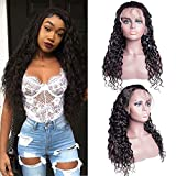 Water Wave Human Hair Lace Front Wigs 130% Density Pre Plucked with Baby Hair Brazilian Water Wave Wig for Black Women Natural color(16inch)