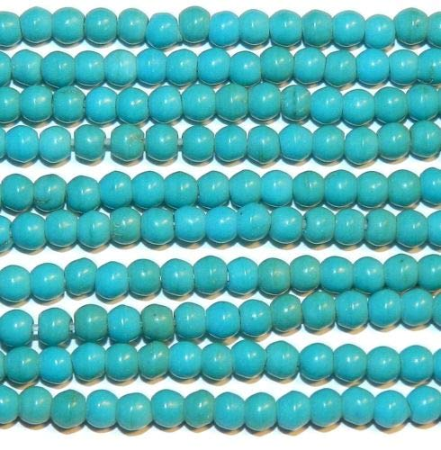 GR1533 Blue-Green Turquoise 3mm Round Magnesite Gemstone Beads 16'' Crafting Key Chain Bracelet Necklace Jewelry Accessories Pendants