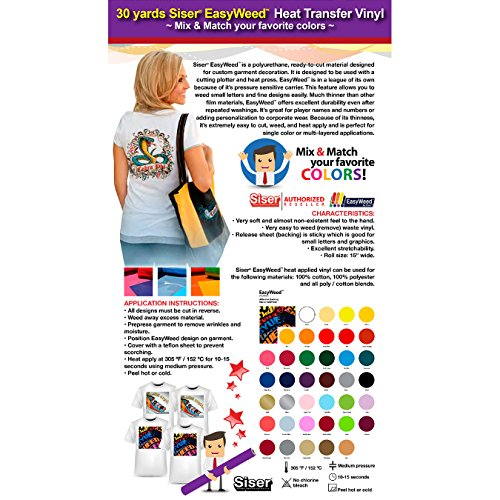 GERCUTTER Store - 30 Yards SISER EASYWEED 15'' Heat Transfer Vinyl (Mix & Match your favorite colors) by GERCUTTER USA