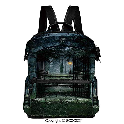 SCOCICI Outdoor Travel Casual Bag Colorful Daypack,Illustration of the Gate of a Dark Old Haunted House Cemetary Dead Myst Fiction Art Print,L11.4xW6.3xH15 Inches