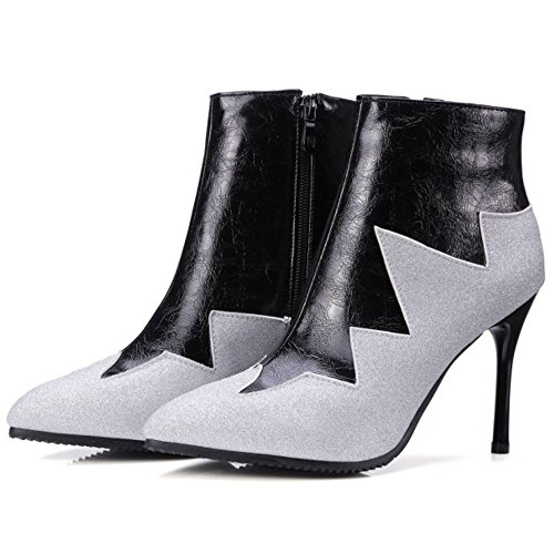 Black High Multicolor Stiletto Ankle Western Mujeres Zipper Boots COOLCEPT Dress PUqzg8nP