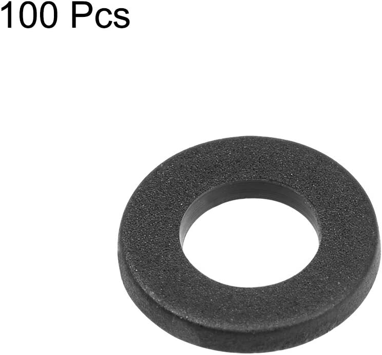 uxcell Nylon Flat Washers M2.5 5mm OD 2.5mm ID 1mm Thickness for Faucet Pipe Water Hose Pack of 100