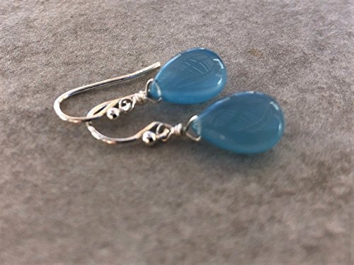 Chalcedony Drop Pendant - Light Sky Blue Chalcedony Sterling Silver Gemstone Teardrop Earrings