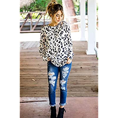 Tickled Teal Women's Long Sleeve Leopard Knit Casual Loose Sweater Outerwear at Women's Clothing store