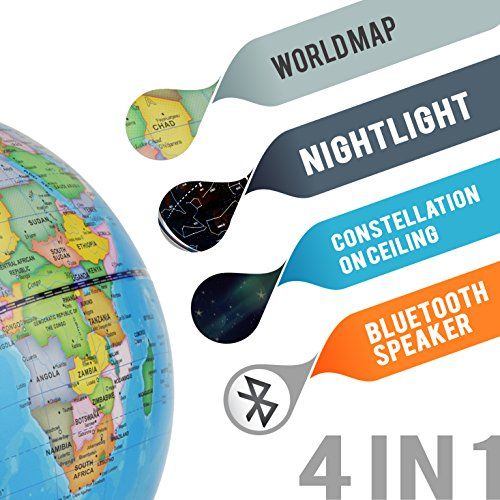 """LED Light Up Globe with Bluetooth Speaker, Chrome Base and Detailed World Map - Constellations Glow at Night – Projects Star Lights on Ceiling as Nightlight - 12.5 x 9"""" - by ToyThrill Photo #6"""