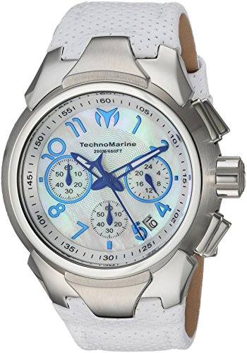 Technomarine Women's 'Sea' Quartz Stainless Steel and Leather Casual Watch, Color:White (Model: TM-715030)