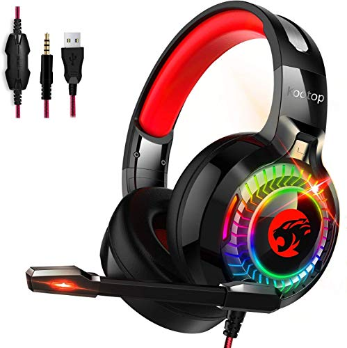 Kootop Gaming Headset for Xbox One,PS4,PC,Noise Cancelling Over Ear Headphones with Mic,RGB Light,Volume-Control, Bass, Soft Memory Earmuffs for Laptop Mac Nintendo Switch Games Black Red