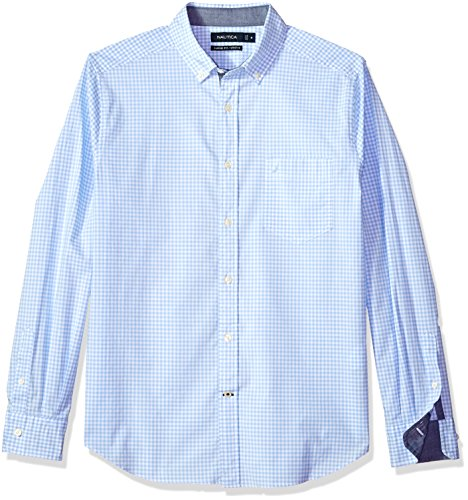Nautica Men's Classic Fit Stretch Gingham Long Sleeve Button Down Shirt, Coastal Sky, X-Large